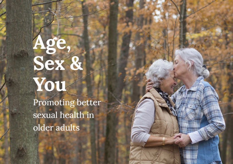 Age, Sex and You website hompage (two old ladies kissing in a forest)