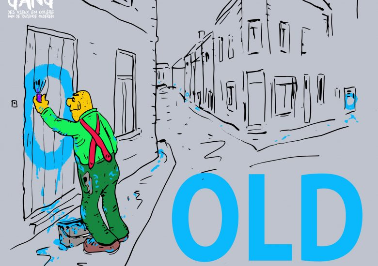 Drawing of an man painting the 'O' of old on people's doors
