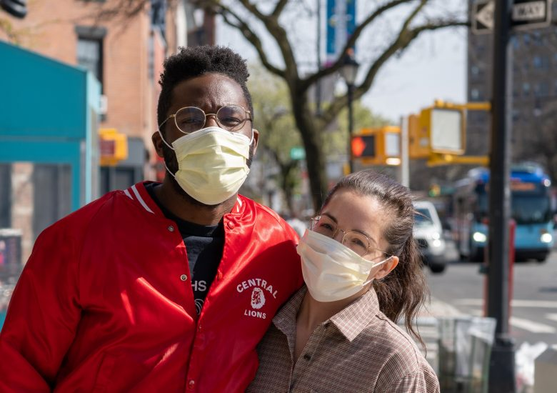 A couple enjoying the sunshine during New York City's #Coronavirus Quarantine, found walking up Flatbush Avenue in Brooklyn, USA